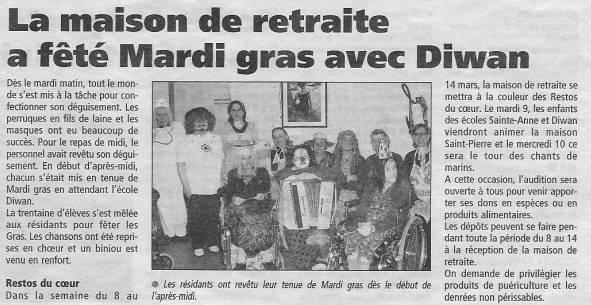 Plabennec - La maison de retraite a fêté Mardi gras (fev 2004) gwennaelle le grand