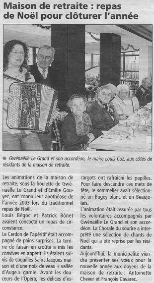 Plabennec - Maison de retraite: repas de Noël pour cloturer l'année (dec 2003) gwennaelle le grand
